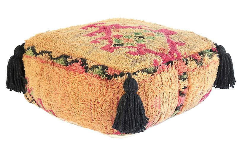 Vintage Apricot Wool Berber Pouf
