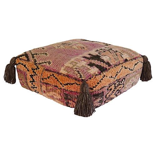Vintage Lavendar Berber Wool Pouf