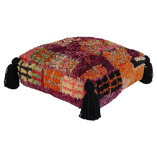 Magenta Berber Moroccan Vintage Pouf