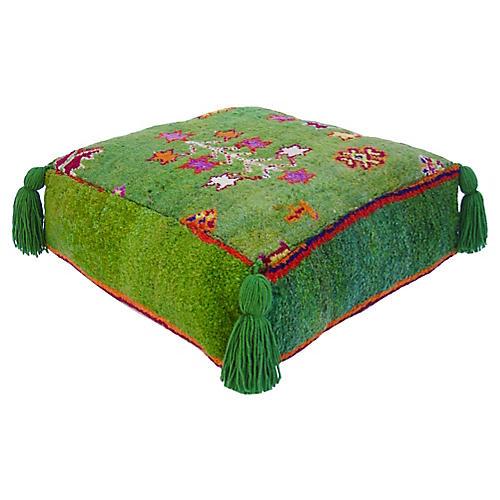 Vintage Apple Green Berber Pouf