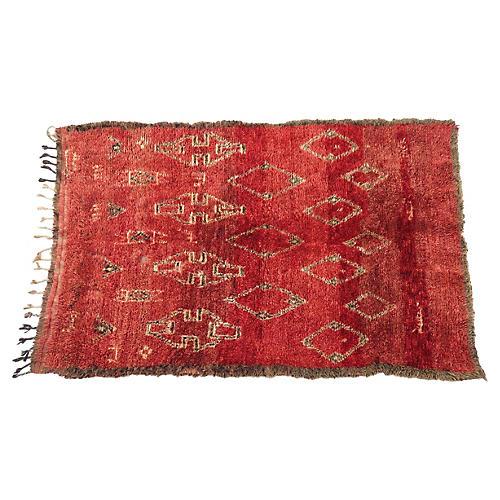 Vintage Moroccan Sepia Boujad Rug