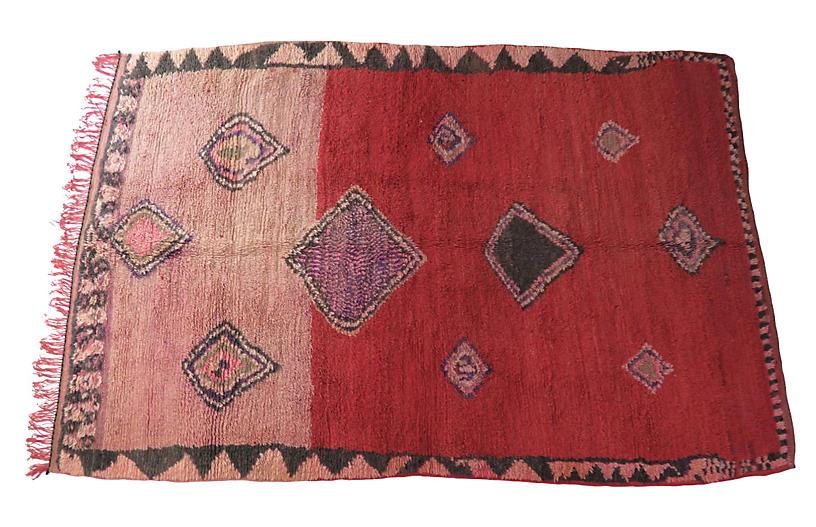 Crimson and Blush Vintage Boujad Rug