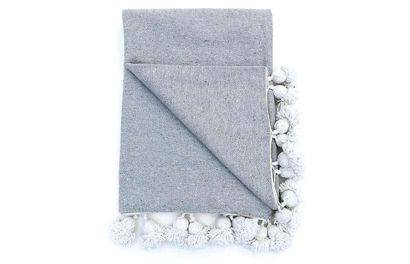 Organic Cotton King Pom Pom Bedcover
