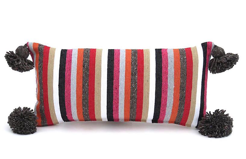 Striped Cotton Pom Pillow