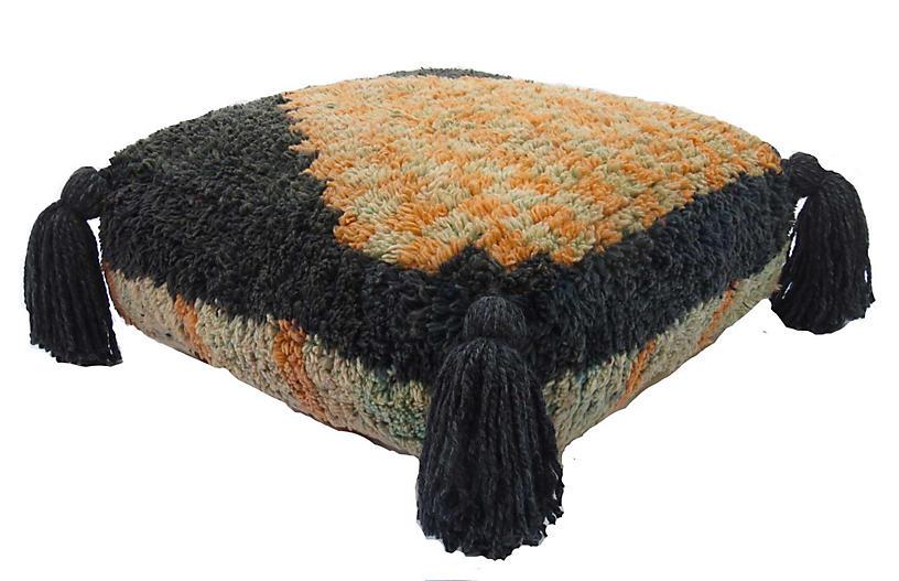Charcoal and Aqua Vintage Wool Pouf