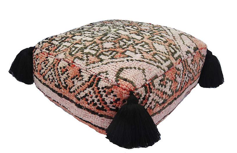 Blush and Black Vintage Berber Pouf