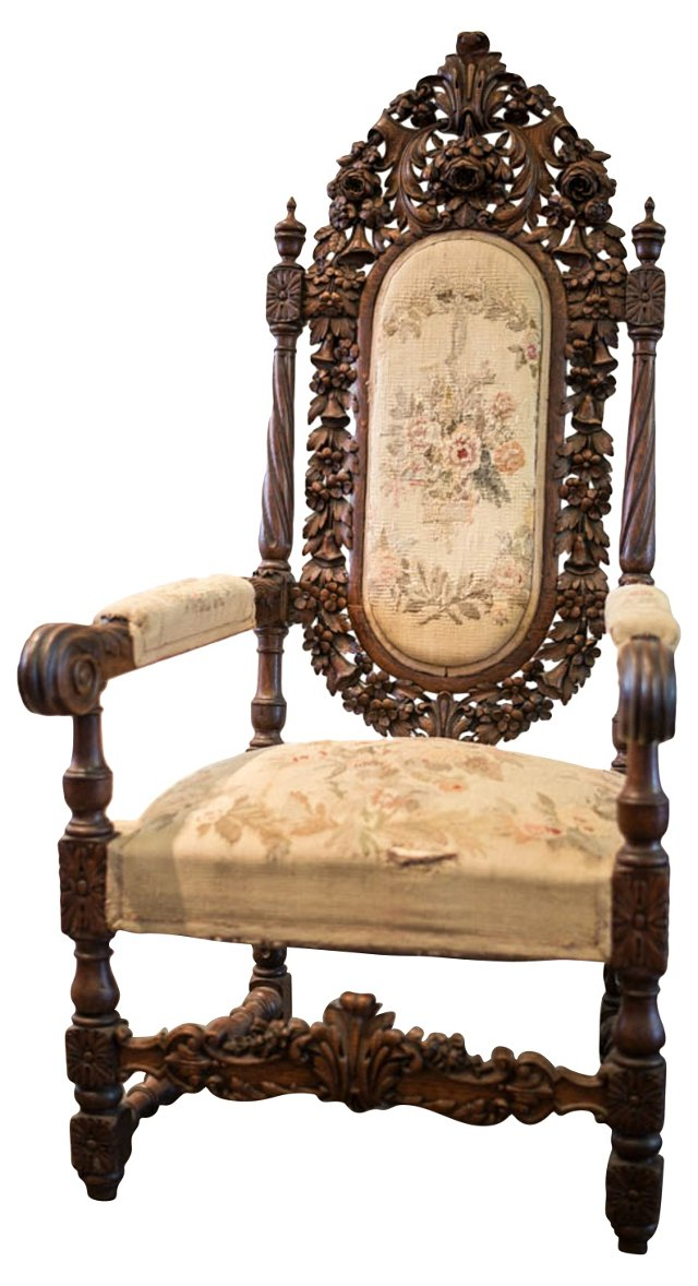 19th-C. French Carved Oak Armchair