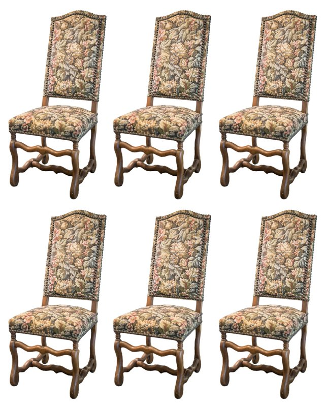French Tapestry Chairs, S/6