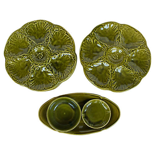 Majolica Oyster Plates, S/8