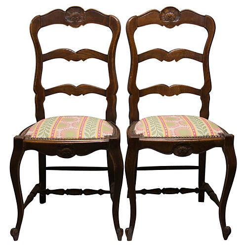 Country French Chairs, Pair