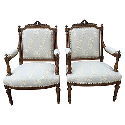 Italian Chairs w/ Embroidered Linen, Pr