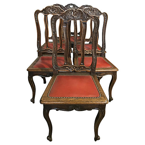 French Leather Chairs, S/6