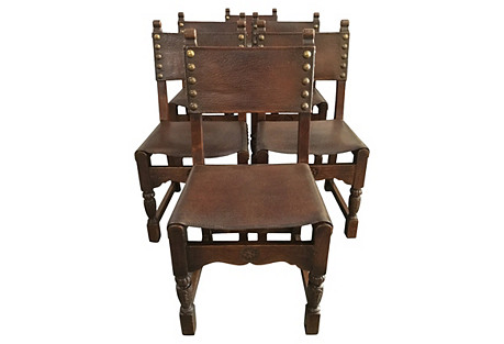 Italian Leather Dining Chairs, S/6