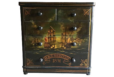 19th-C. Hand-Painted English Dresser