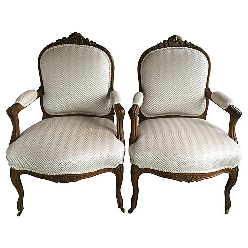 19th-C. Napoleon lll-Style Chairs, Pair