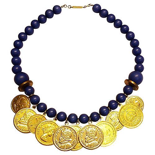 Navy Blue Coin Necklace