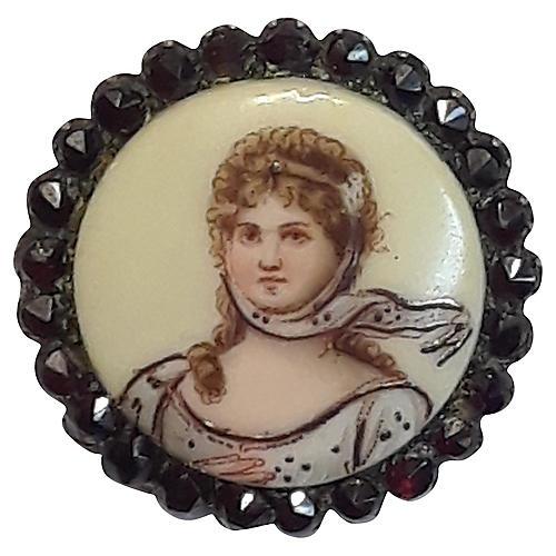 Limoges-Style Lady Garnet Pin