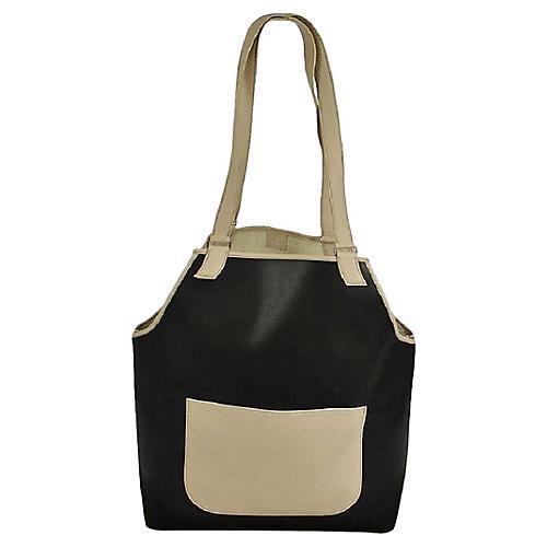 Hermès Navy & Cream Leather Tote