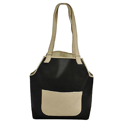 Hermès Black & Cream Leather Tote