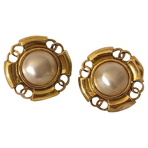 Vtg Chanel Faux-Pearl Earrings