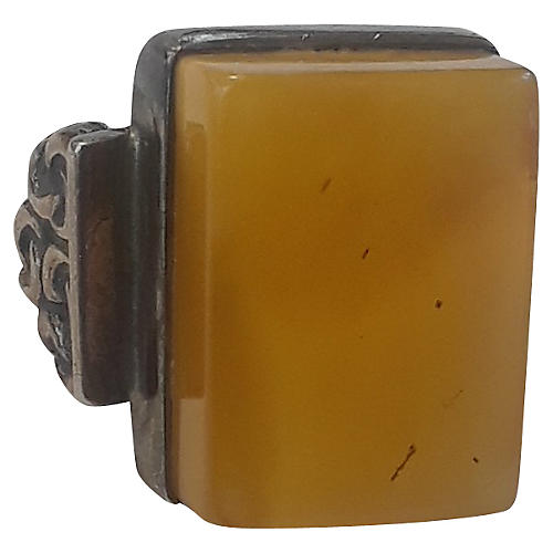 Deco Butterscotch Amber Ring