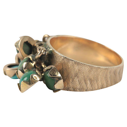 14K Gold & Turquoise Charm Ring