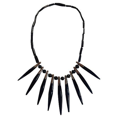 14K Gold & Black Coral Spike Necklace