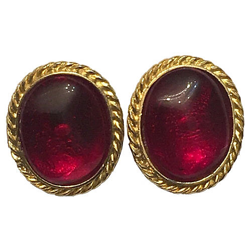Red Poured Glass Earrings