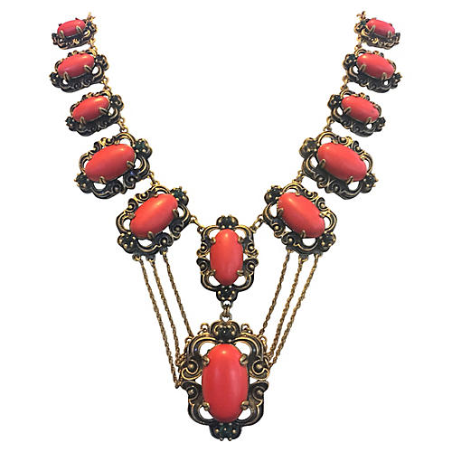 Simulated Coral Festoon Necklace