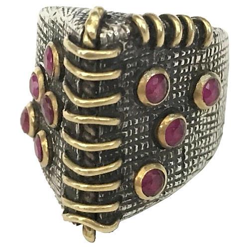 Sterling, 14K Gold & Ruby Corner Ring