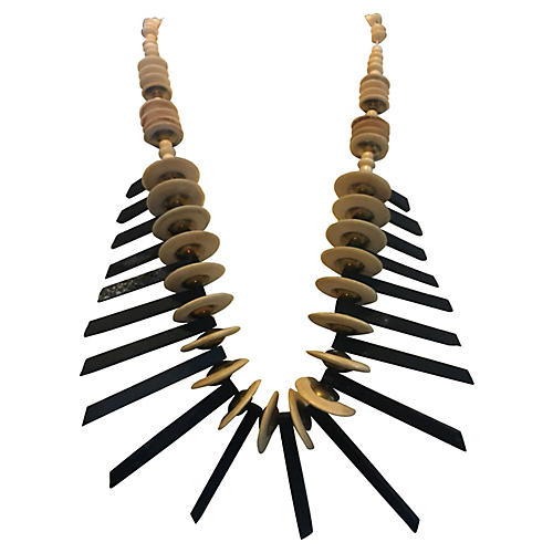 1960s Wood & Horn Necklace