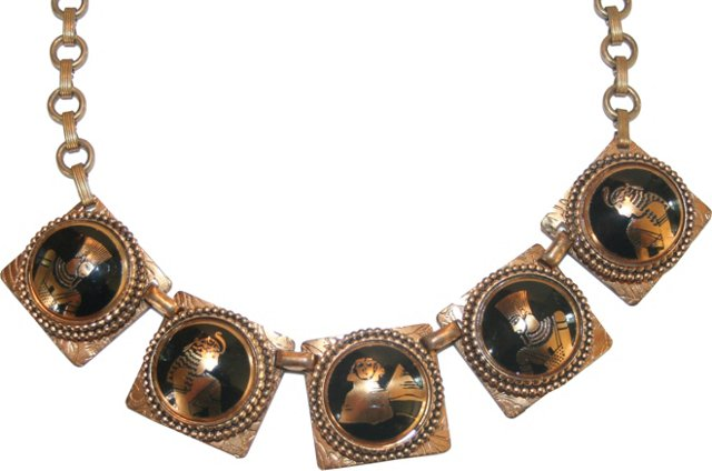 Egyptian Revival Book Chain Necklace