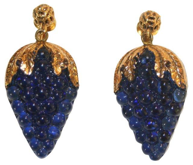 Glass Grape Cluster Earrings