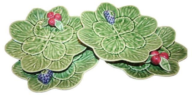 Portuguese Raised Fruit Plates, S/4
