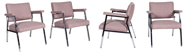 Linen & Chrome Armchairs, Set of 4