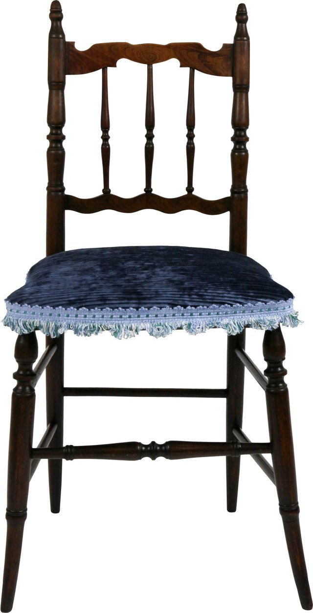 Wooden Chair w/ Blue Upholstery
