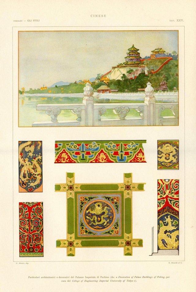 Chinese Architecture Print, 1925