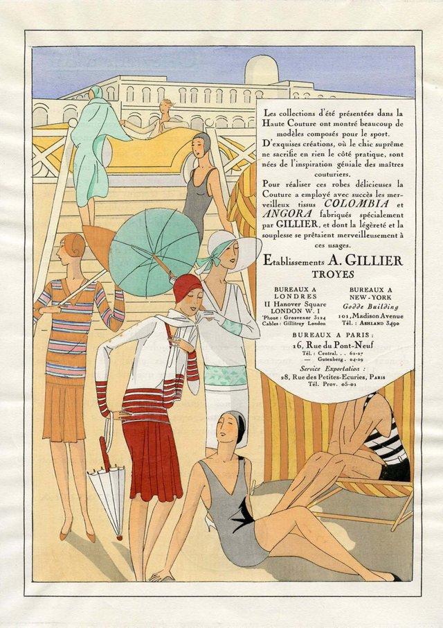 Art Deco Swimsuits Fashion Print