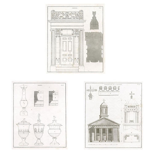 S/3 Architectural Engravings, 1851