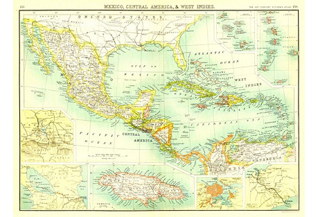 Central America Map, 1902