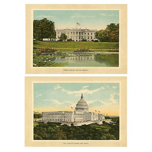 Washington DC Souvenir Prints, Pair