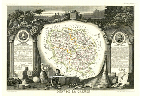 French Map of Creuse, 1856