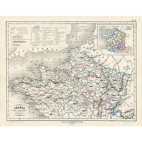 French Agriculture & Business Map, 1865