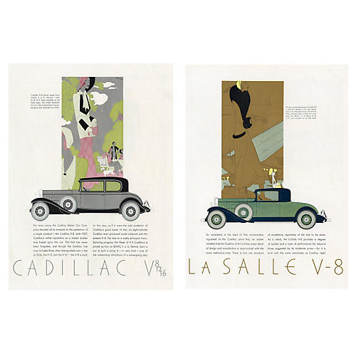 Art Deco Cadillac Ads, Pair