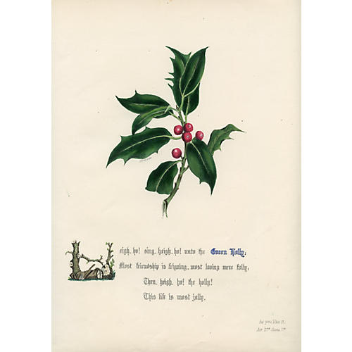 Shakespearean Holly Print, 1846