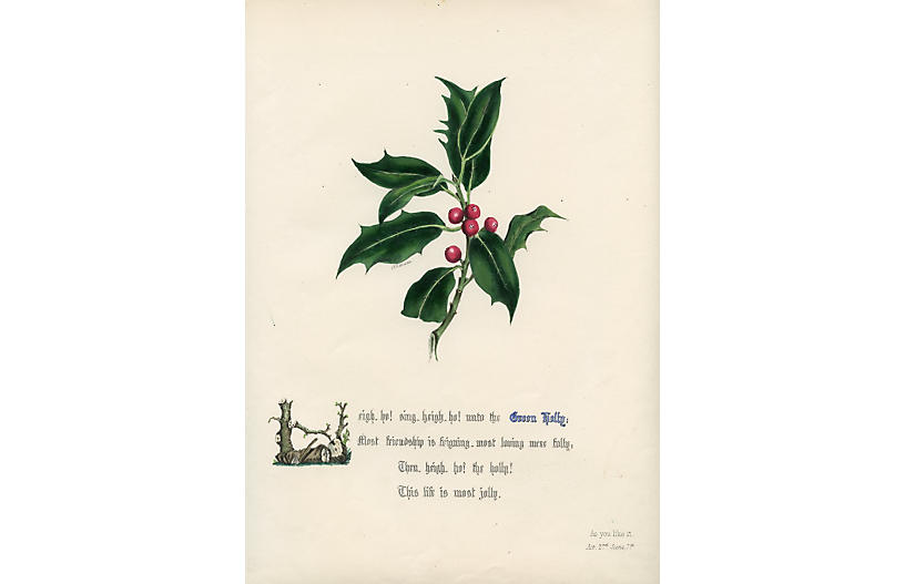 Shakespearean Holly Print, 1846