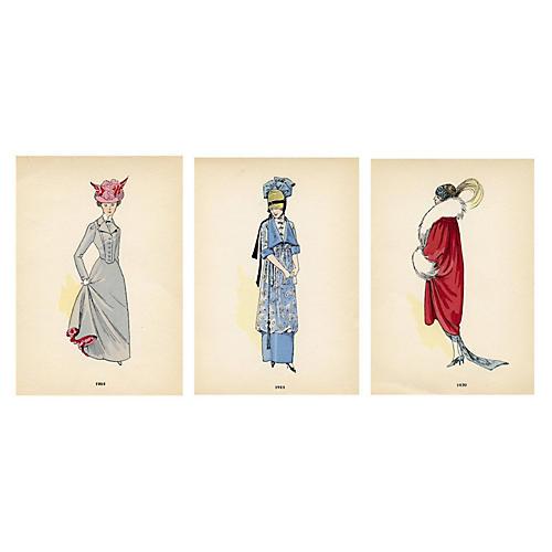 French Fashion Prints, S/3