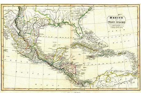 Mexico & West Indies Map, 1824