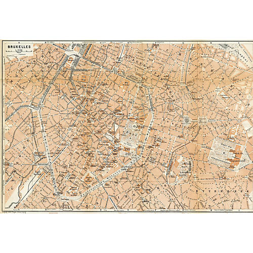 Brussels Tourist Map, 1910