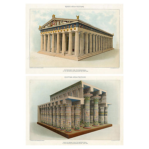 Greek & Egyptian Architecture, Pair